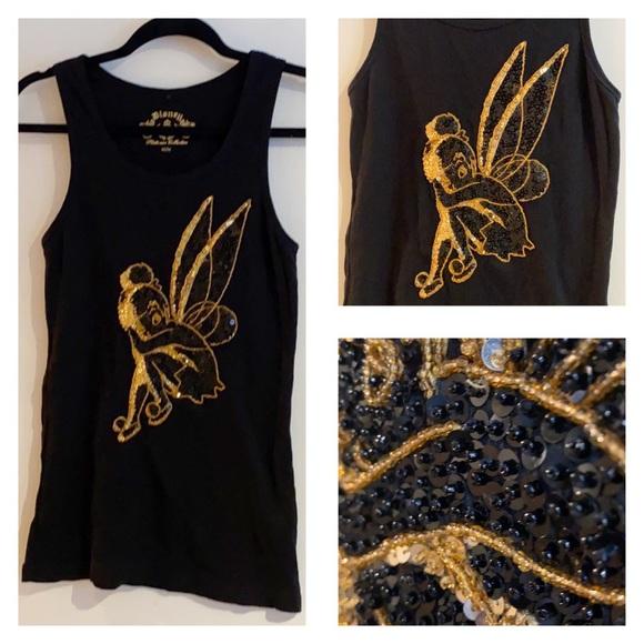 Tinkerbell-M-Sequin & Beaded Black & Gold Tank Top